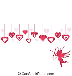 Cupid and Hearts Background