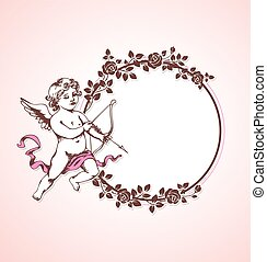 Cupid and round frame of roses
