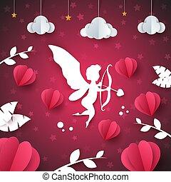 Cupid, angel, heart - paper illustration. Cloud, star, leaf.