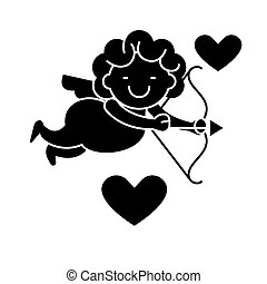 Cupid angel icon, vector illustration, black sign on isolated background