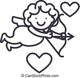 cupid angel vector line icon, sign, illustration on background, editable strokes