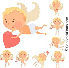 Cupid angels icons set
