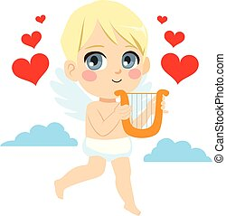 cupid, anjo, harpa