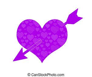 Cupid Arrow Through Purple Heart. Doodle Pattern