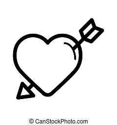 Cupid arrow with heart line icon, outline vector sign, linear style pictogram isolated on white. Love symbol, logo illustration.