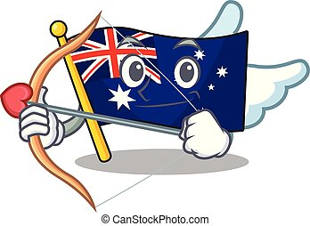 Cupid australian flag clings to cartoon wall