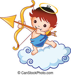 Cupid baby and cloud design vector