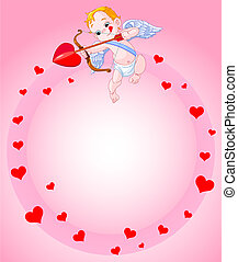 Background of a Valentine's Day cupid ready to shoot his arrow