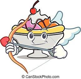 Cupid banana split character cartoon vector illustration