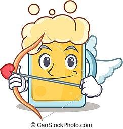 Cupid beer character cartoon style