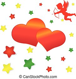 cupid, big red heart and colorful stars on the background.