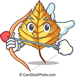 Cupid birch leaf in the mascot shape vector illustration