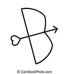 Cupid bow and arrow with heart line icon, outline vector sign, linear style pictogram isolated on white. Symbol, logo illustration.