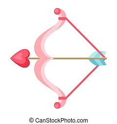 Cupid bow and arrow with heart.