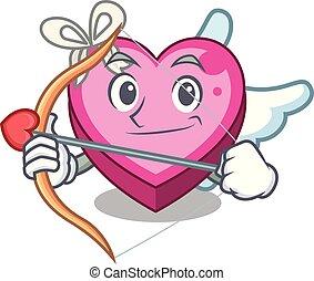 Cupid box heart in shape of mascot