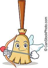 Cupid broom character cartoon style