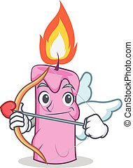 Cupid candle character cartoon style vector illustration