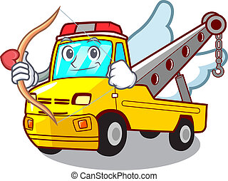 Cupid Cartoon tow truck isolated on rope