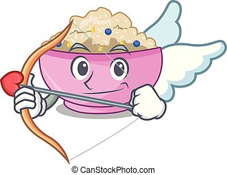 Cupid character a bowl of oatmeal porridge
