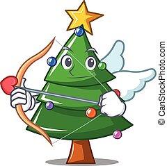 Cupid Christmas tree character cartoon