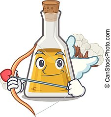 Cupid cottonseed oil in a mascot bottle vector illustration