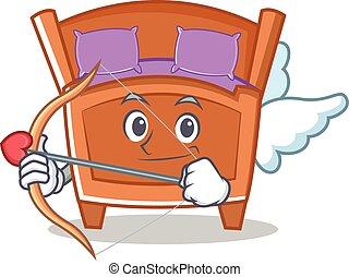 Cupid cute bed character cartoon