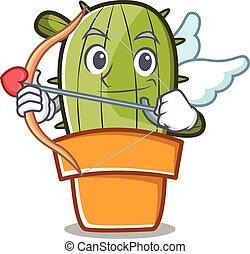 Cupid cute cactus character cartoon