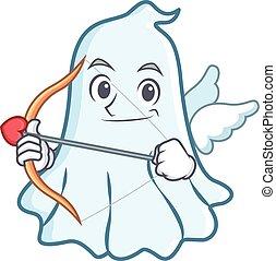 Cupid cute ghost character cartoon