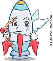 Cupid cute rocket character cartoon
