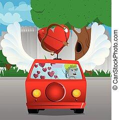 Cupid driving his car.