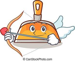 Cupid dustpan character cartoon style vector illustration