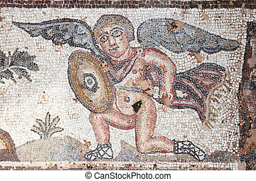 Cupid Eros Roman Mosaic - Cupid Eros hunting with a shield,...