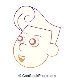 Cupid face cartoon rainbow lines