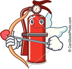 Cupid fire extinguisher character cartoon