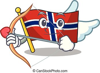 Cupid flag norway character shaped on cartoon