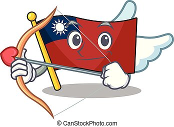 Cupid flag taiwan character shape with mascot vector ...