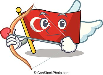 Cupid flag turkey character on shaped cartoon
