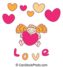 Cupid for Valentine's Day with a heart