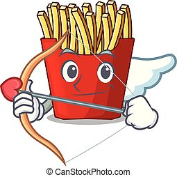 Cupid french fries above cartoon table wood
