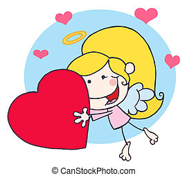 Cupid Girl Flying With A Red Heart