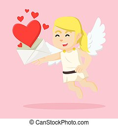 cupid girl showing love letter