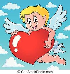 Cupid holding stylized heart image 2