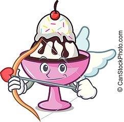 Cupid ice cream sundae character cartoon vector illustration