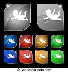 Cupid icon sign. Set of ten colorful buttons with glare. Vector