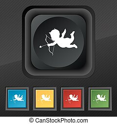 Cupid icon symbol. Set of five colorful, stylish buttons on black texture for your design. Vector