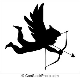 Cupid - A silhouette of Cupid aiming his bow and arrow at...