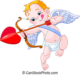 cupid - Illustration of a Valentine\\\'s Day cupid ready to...