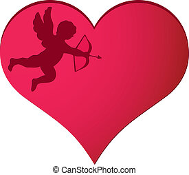 Cupid in heart background