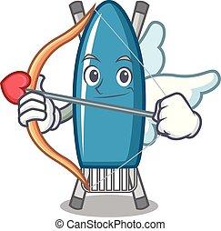 Cupid iron board character cartoon vector illustration