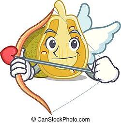 Cupid jackfruit character cartoon style vector illustration